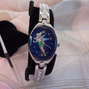Disney Tinkerbell Wrist Watch Silver Rhinestones